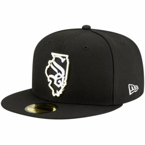 ニューエラ NEW ERA シカゴ 白 ホワイト メタル スケートボード 黒 ブラック バッグ キャップ 帽子 メンズキャップ メンズ 【 Chicago White Sox Metal And Thread State 59fifty Fitted Hat - Black 】 Black