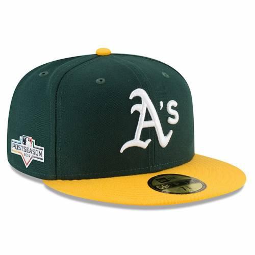 ニューエラ NEW ERA オークランド バッグ キャップ 帽子 メンズキャップ メンズ 【 Oakland Athletics 2019 Postseason Home Sidepatch 59fifty Fitted Hat - Green/yellow 】 Green/yellow