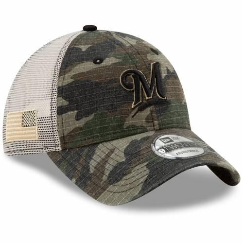 ニューエラ NEW ERA ミルウォーキー ブルワーズ トラッカー バッグ キャップ 帽子 メンズキャップ メンズ 【 Milwaukee Brewers Honor Trucker 9twenty Adjustable Hat - Camo 】 Camo