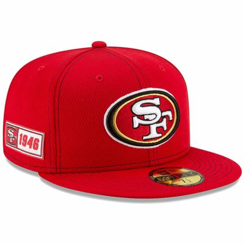ニューエラ NEW ERA フォーティーナイナーズ サイドライン 【 NFL NEW ERA SAN FRANCISCO 49ERS 2019 SIDELINE ROAD OFFICIAL 59FIFTY FITTED HAT SCARLET 】 バッグ  キャップ 帽子 メンズキャップ 帽子