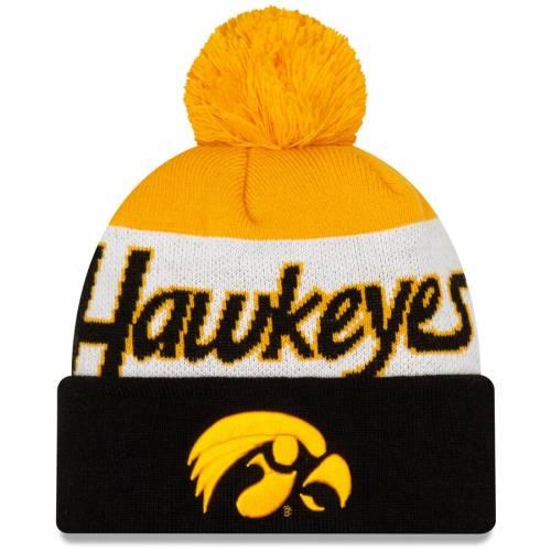 ニューエラ NEW ERA スクリプト ニット 黒 ブラック バッグ キャップ 帽子 メンズキャップ メンズ 【 Iowa Hawkeyes Script Cuffed Knit Hat With Pom - Black 】 Black