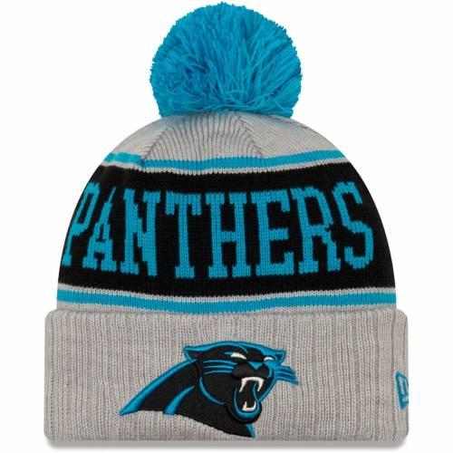 ニューエラ NEW ERA カロライナ パンサーズ ストライプ ニット 灰色 グレー グレイ バッグ キャップ 帽子 メンズキャップ メンズ 【 Carolina Panthers Stripe Cuffed Knit Hat With Pom - Gray 】 Gray