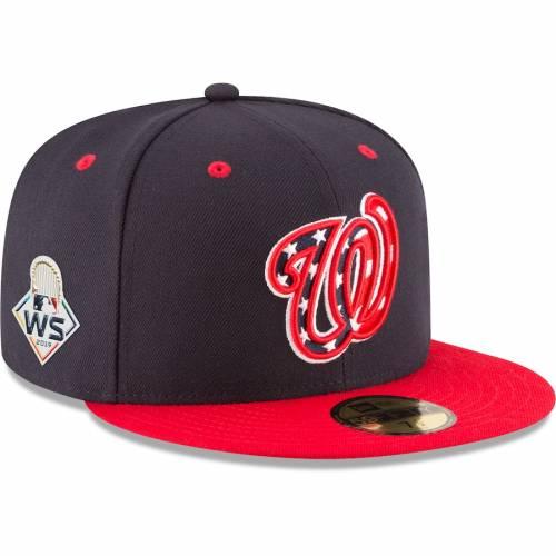 ニューエラ NEW ERA ワシントン ナショナルズ シリーズ バッグ キャップ 帽子 メンズキャップ メンズ 【 Washington Nationals 2019 World Series Bound Alternate 4 Sidepatch 59fifty Fitted Hat - Navy/red 】 Navy/red