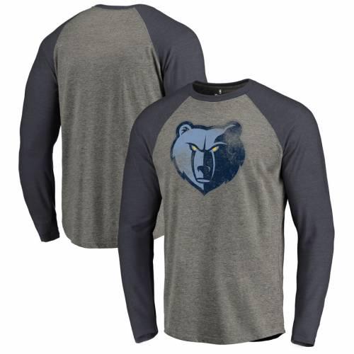 FANATICS BRANDED メンフィス グリズリーズ ロゴ ラグラン スリーブ Tシャツ メンズファッション トップス カットソー メンズ 【 Memphis Grizzlies Distressed Logo Tri-blend Raglan Big And Tall Long Sleeve T-shi