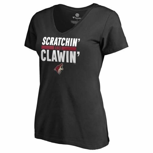 FANATICS BRANDED アリゾナ レディース ブイネック Tシャツ 黒 ブラック WOMEN'S SCRATCHIN' CLAWIN'BLACK FANATICS BRANDED ARIZONA COYOTES AND VNECK TSHIRTレディースファッション トップス Tシャツ カットK1Jl3TFc