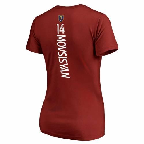スポーツブランド カジュアル ファッション ファナティクス FANATICS BRANDED レアル レディース お得 Vネック Tシャツ 赤 レッド NAME ソルトレイク ト MOVSISYAN BACKER TSHIRT 未使用品 RED レディースファッション YURA VNECK WOMEN'S NUMBER