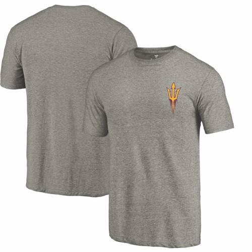 FANATICS BRANDED アリゾナ スケートボード ロゴ Tシャツ 灰色 グレー グレイ メンズファッション トップス カットソー メンズ 【 Arizona State Sun Devils Left Chest Distressed Logo Tri-blend T-shirt - Gray Hea