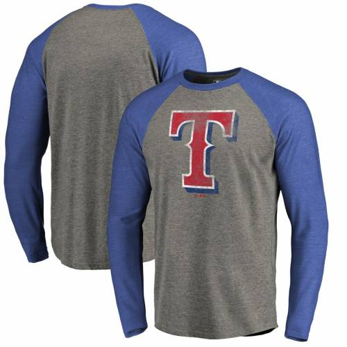 FANATICS BRANDED テキサス レンジャーズ チーム スリーブ ラグラン Tシャツ 灰色 グレー グレイ & 【 TEAM SLEEVE RAGLAN GRAY FANATICS BRANDED TEXAS RANGERS DISTRESSED BIG TALL LONG TRIBLEND TSHIRT ROYAL 】 メンズ