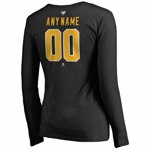 FANATICS BRANDED ピッツバーグ レディース チーム オーセンティック スリーブ ブイネック Tシャツ [CUSTOMIZED ITEM] WOMEN'S 【 TEAM SLEEVE PITTSBURGH PENGUINS PERSONALIZED AUTHENTIC LONG VNECK TSHIRT BLACK 】 レディ