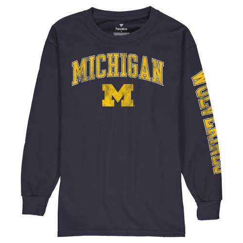 FANATICS BRANDED ミシガン 子供用 ロゴ スリーブ Tシャツ 紺 ネイビー キッズ ベビー マタニティ トップス ジュニア 【 Michigan Wolverines Youth Distressed Arch Over Logo Long Sleeve T-shirt - Navy 】 Navy