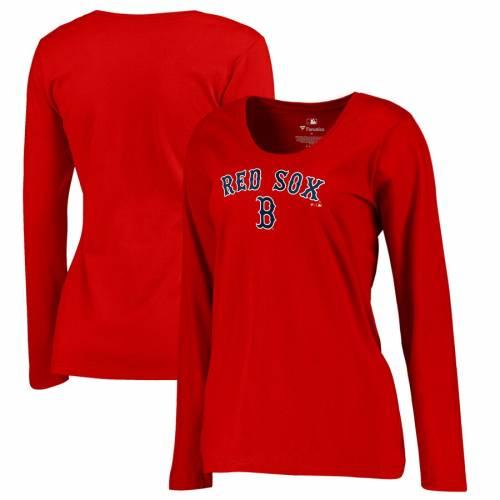 FANATICS BRANDED ボストン 赤 レッド レディース チーム Tシャツ WOMEN'S 【 RED TEAM BOSTON SOX PLUS SIZE LOCKUP TSHIRT 】 レディースファッション トップス カットソー 送料無料