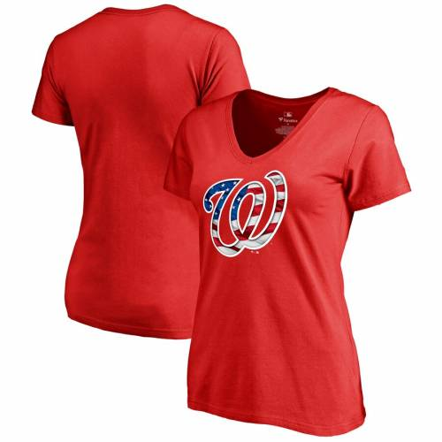 FANATICS BRANDED ワシントン ナショナルズ レディース ウェーブ ウェイブ ブイネック Tシャツ WOMEN'S & 【 WAVE WASHINGTON NATIONALS 2019 STARS STRIPES BANNER PLUS SIZE VNECK TSHIRT NAVY RED 】 レディースファ