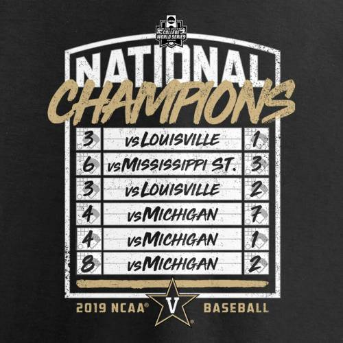 FANATICS BRANDED レディース ベースボール カレッジ シリーズ ブイネック Tシャツ WOMEN'S MEN'S 【 VANDERBILT COMMODORES 2019 NCAA BASEBALL COLLEGE WORLD SERIES NATIONAL CHAMPIONS INNINGS VNECK TSHIRT BLACK 】 レディース