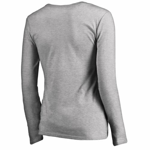 FANATICS BRANDED フィラデルフィア レディース スリーブ ブイネック Tシャツ ヘザー WOMEN'S 【 SLEEVE HEATHER PHILADELPHIA FLYERS HOCKEY IS FOR EVERYONE LOVE SQUARE LONG VNECK TSHIRT GRAY 】 レディースファッション