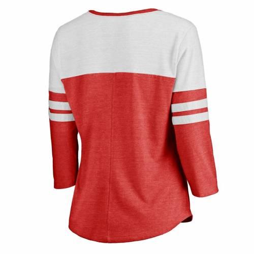 FANATICS BRANDED アトランタ ホークス レディース ラグラン Tシャツ WOMEN'S 【 RAGLAN ATLANTA HAWKS GRACEFUL 3 4SLEEVE TSHIRT HEATHERED RED 】 レディースファッション トップス カットソー 送料無料