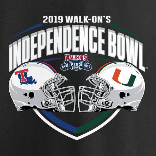 FANATICS BRANDED テック マイアミ Tシャツ 黒 ブラック Vs. メンズファッション トップス カットソー メンズ 【 Louisiana Tech Bulldogs Vs. Miami Hurricanes 2019 Independence Bowl Matchup Slant T-shirt - Black 】 Bla