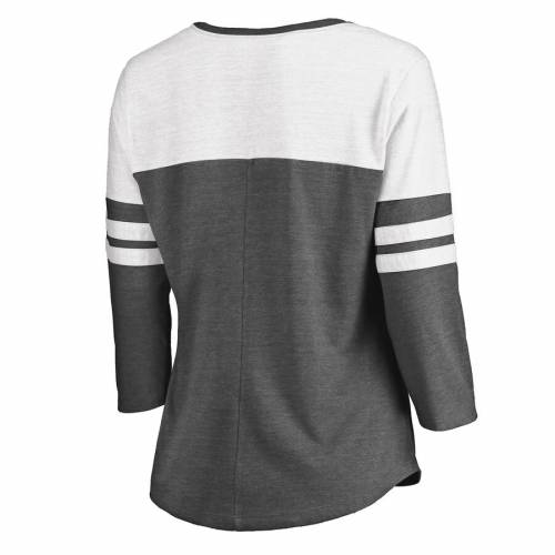 FANATICS BRANDED タイガース レディース カレッジ ブイネック Tシャツ WOMEN'S 【 LSU TIGERS COLLEGE FOOTBALL PLAYOFF 2019 PEACH BOWL CHAMPIONS OFFENSIVE TRIBLEND COLOR BLOCK 3 4SLEEVE VNECK TSHIRT CHARCOAL WHITE 】 レディー