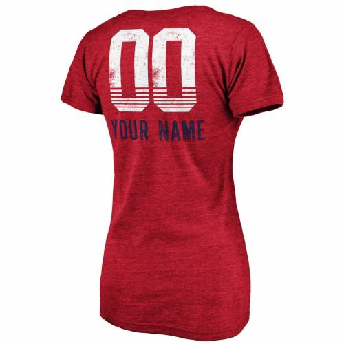 FANATICS BRANDED シカゴ レディース ファスト ブイネック Tシャツ ヘザー [CUSTOMIZED ITEM] WOMEN'S 【 HEATHER CHICAGO FIRE FAST PASS TRIBLEND PERSONALIZED VNECK TSHIRT RED 】 レディースファッション トップス カッ