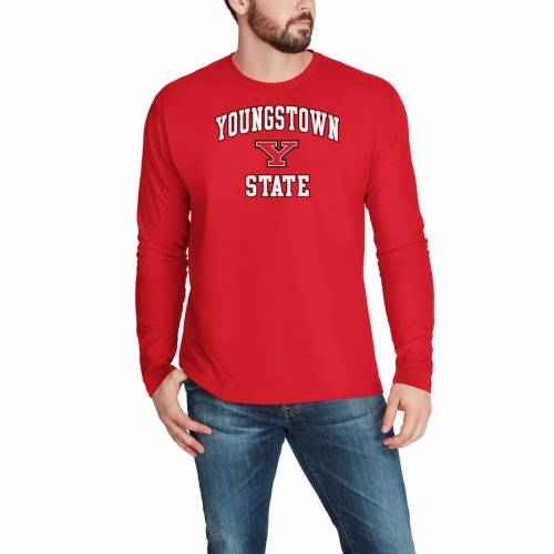 FANATICS BRANDED スケートボード キャンパス スリーブ Tシャツ 赤 レッド 【 STATE SLEEVE RED FANATICS BRANDED YOUNGSTOWN PENGUINS CAMPUS LONG TSHIRT 】 メンズファッション トップス Tシャツ カットソー