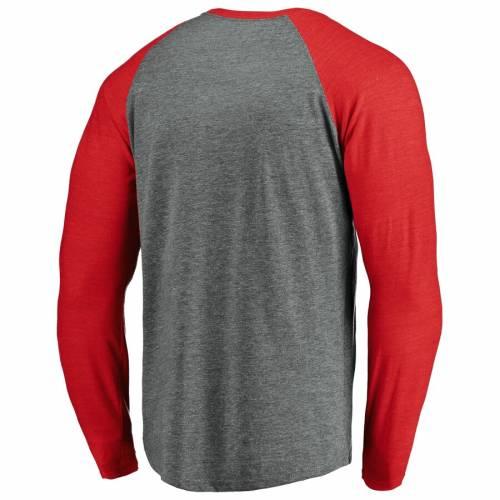 FANATICS BRANDED カーディナルス ラグラン スリーブ Tシャツ St. メンズファッション トップス カットソー メンズ 【 St. Louis Cardinals True Classics Outfield Arc Raglan Long Sleeve T-shirt - Heathered Gray/red