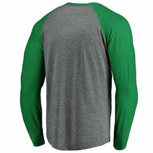 FANATICS BRANDED ヤンキース ラグラン スリーブ Tシャツ 緑 グリーン St. メンズファッション トップス カットソー メンズ 【 New York Yankees St. Patricks Day Paddys Pride Raglan Long Sleeve T-shirt - Gray/kelly