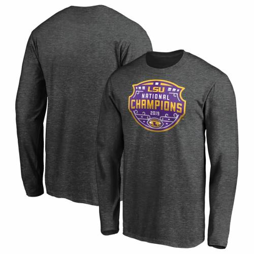 FANATICS BRANDED タイガース カレッジ スリーブ Tシャツ ヘザー チャコール 【 SLEEVE HEATHER FANATICS BRANDED LSU TIGERS COLLEGE FOOTBALL PLAYOFF 2019 NATIONAL CHAMPIONS ENCROACHMENT LONG TSHIRT CHARCOAL 】 メンズファッ