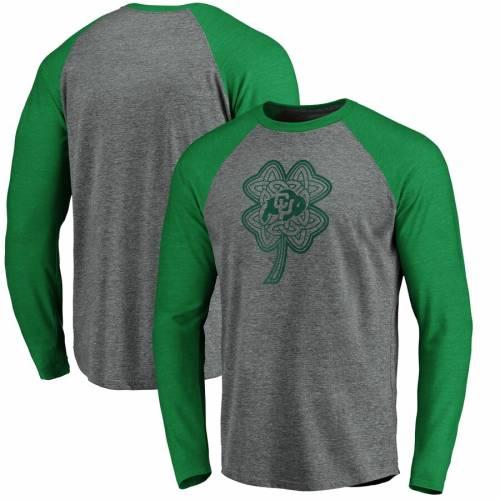 FANATICS BRANDED コロラド ラグラン スリーブ Tシャツ 灰色 グレー グレイ St. メンズファッション トップス カットソー メンズ 【 Colorado Buffaloes St. Patricks Day Celtic Charm Tri-blend Raglan Long Sleeve T