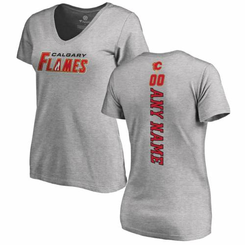 FANATICS BRANDED レディース スリム ブイネック Tシャツ ヘザー [CUSTOMIZED ITEM] WOMEN'S 【 SLIM HEATHER CALGARY FLAMES PERSONALIZED PLAYMAKER FIT VNECK TSHIRT GRAY 】 レディースファッション トップス カットソー
