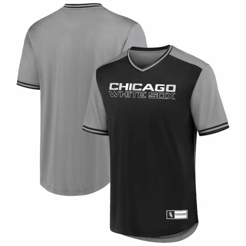 FANATICS BRANDED シカゴ 白 ホワイト ウォーク ブイネック Tシャツ メンズファッション トップス カットソー メンズ 【 Chicago White Sox Big And Tall Iconic Walk Off V-neck T-shirt - Black/gray 】 Black/gray