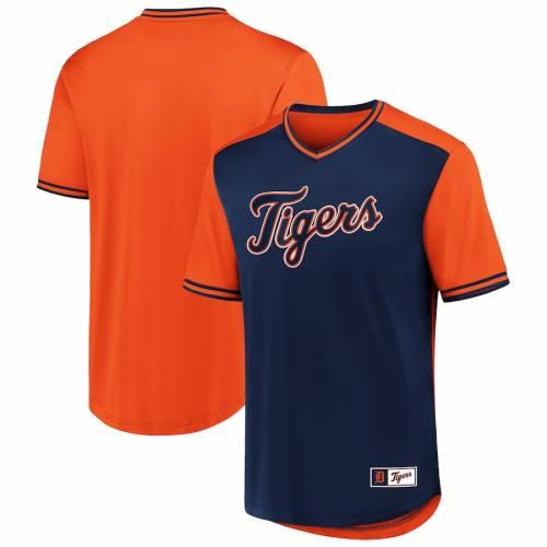 FANATICS BRANDED デトロイト タイガース ウォーク ブイネック Tシャツ メンズファッション トップス カットソー メンズ 【 Detroit Tigers Big And Tall Iconic Walk Off V-neck T-shirt - Navy/orange 】 Navy/orange