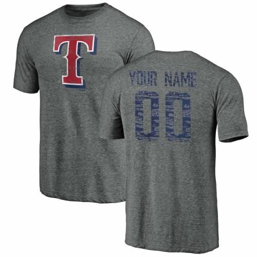 FANATICS BRANDED テキサス レンジャーズ Tシャツ 灰色 グレー グレイ メンズファッション トップス カットソー メンズ 【 [customized Item] Texas Rangers Heritage Personalized Tri-blend T-shirt - Heathered Gray
