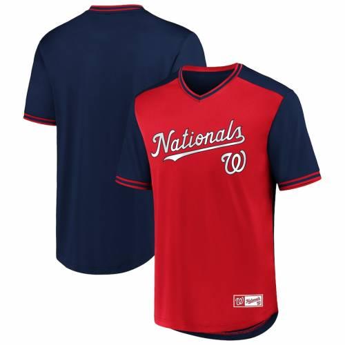 FANATICS BRANDED ワシントン ナショナルズ ウォーク ブイネック ジャージ Tシャツ メンズファッション トップス カットソー メンズ 【 Washington Nationals Iconic Walk Off V-neck Jersey T-shirt - Red/navy