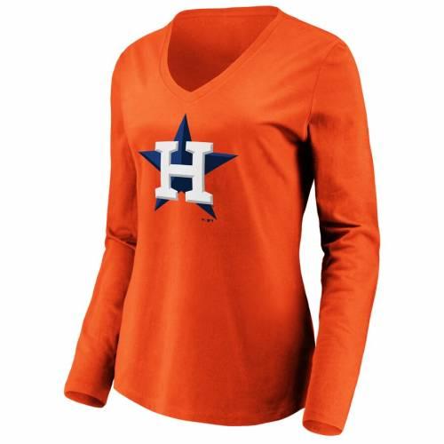 FANATICS BRANDED ヒューストン アストロズ レディース ロゴ スリーブ ブイネック Tシャツ 橙 オレンジ WOrWoQBdCxe