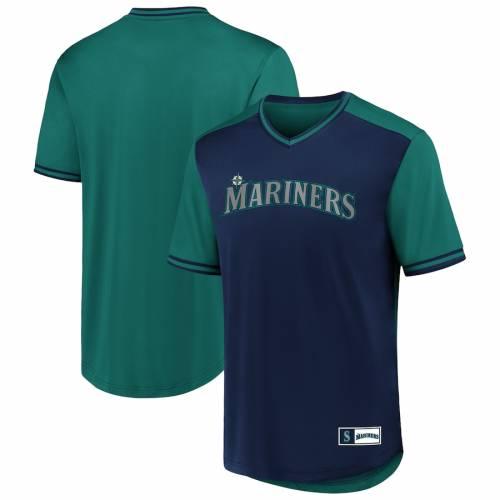 FANATICS BRANDED シアトル マリナーズ ウォーク ブイネック ジャージ Tシャツ メンズファッション トップス カットソー メンズ 【 Seattle Mariners Iconic Walk Off V-neck Jersey T-shirt - Navy/aqua 】 Navy/aq