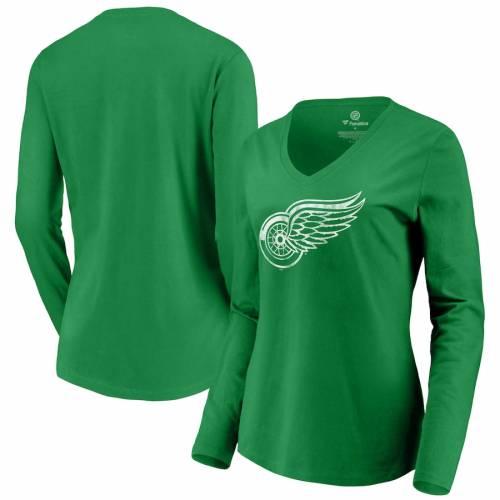 FANATICS BRANDED デトロイト 赤 レッド レディース 白 ホワイト ロゴ スリーブ ブイネック Tシャツ 緑 グリーン St. レディースファッション トップス カットソー 【 Detroit Red Wings Womens St. Patr