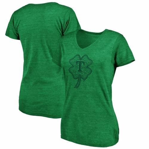 FANATICS BRANDED テキサス レンジャーズ レディース ブイネック Tシャツ 緑 グリーン St. レディースファッション トップス カットソー 【 Texas Rangers Womens St. Patricks Day Celtic Charm Tri-blend V-neck