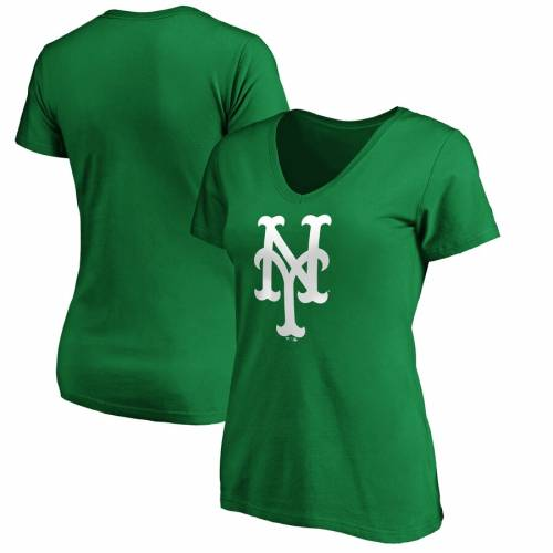 FANATICS BRANDED メッツ レディース 白 ホワイト チーム ロゴ ブイネック Tシャツ 緑 グリーン St. レディースファッション トップス カットソー 【 New York Mets Womens St. Patricks Day White Team Logo V-