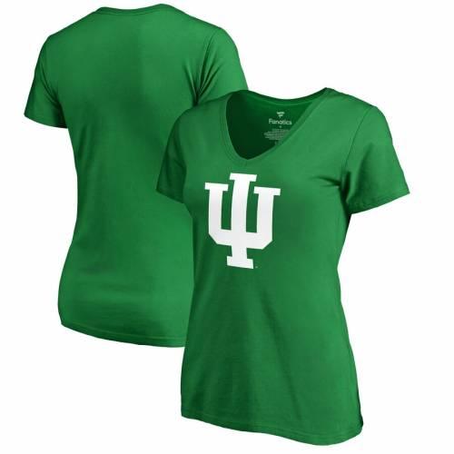FANATICS BRANDED インディアナ レディース 白 ホワイト ロゴ ブイネック Tシャツ 緑 グリーン St. レディースファッション トップス カットソー 【 Indiana Hoosiers Womens St. Patricks Day White Logo V-nec