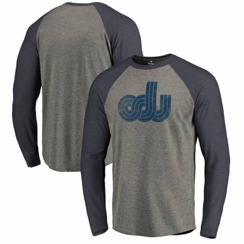 FANATICS BRANDED カレッジ ロゴ スリーブ ラグラン Tシャツ メンズファッション トップス カットソー メンズ 【 Old Dominion Monarchs College Vault Primary Logo Long Sleeve Tri-blend Raglan T-shirt - Ash 】 Ash
