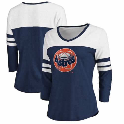 FANATICS BRANDED ヒューストン アストロズ レディース クーパーズタウン コレクション ブイネック Tシャツ レディースファッション トップス カットソー 【 Houston Astros Womens Two-toned Distressed