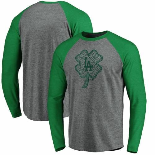 FANATICS BRANDED ドジャース ラグラン スリーブ Tシャツ 灰色 グレー グレイ St. メンズファッション トップス カットソー メンズ 【 Los Angeles Dodgers St. Patricks Day Celtic Charm Tri-blend Raglan Long Slee