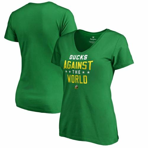 FANATICS BRANDED オレゴン レディース ブイネック チーム Tシャツ 緑 グリーン レディースファッション トップス カットソー 【 Oregon Ducks Womens Against The World V-neck Team T-shirt - Green 】 Green