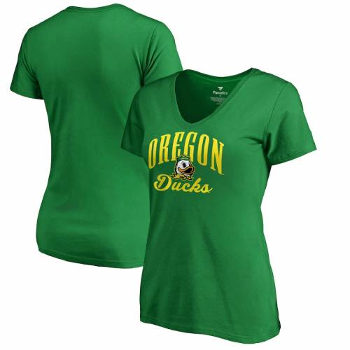 FANATICS BRANDED オレゴン レディース ビクトリー スクリプト ブイネック Tシャツ 緑 グリーン レディースファッション トップス カットソー 【 Oregon Ducks Womens Victory Script V-neck T-shirt - Green