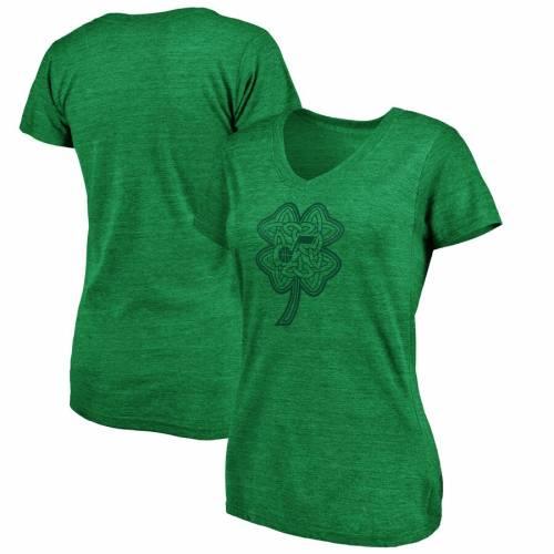 FANATICS BRANDED ユタ ジャズ レディース ブイネック Tシャツ 緑 グリーン St. レディースファッション トップス カットソー 【 Utah Jazz Womens St. Patricks Day Celtic Charm Tri-blend V-neck T-shirt - Green 】