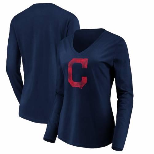 FANATICS BRANDED クリーブランド インディアンズ レディース コア チーム スリーブ ブイネック Tシャツ 紺 ネイビー レディースファッション トップス カットソー 【 Cleveland Indians Womens Core