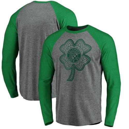 FANATICS BRANDED ラグラン スリーブ Tシャツ 灰色 グレー グレイ St. メンズファッション トップス カットソー メンズ 【 Columbus Crew Sc St. Patricks Day Celtic Charm Tri-blend Raglan Long Sleeve T-shirt - Heathe
