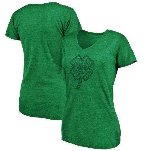 FANATICS BRANDED 紺 ネイビー レディース ブイネック Tシャツ 緑 グリーン St. レディースファッション トップス カットソー 【 Navy Midshipmen Womens St. Patricks Day Celtic Charm Tri-blend V-neck T-shirt - Gre