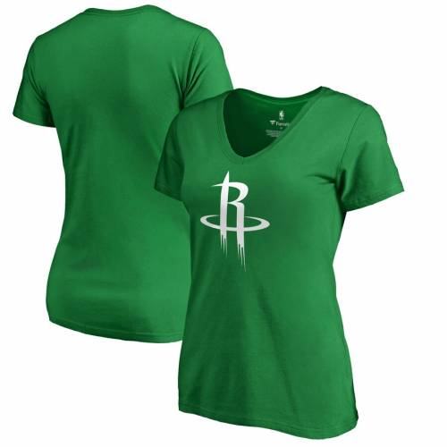 FANATICS BRANDED ヒューストン ロケッツ レディース 白 ホワイト ロゴ ブイネック Tシャツ 緑 グリーン St. レディースファッション トップス カットソー 【 Houston Rockets Womens St. Patricks Day Whit