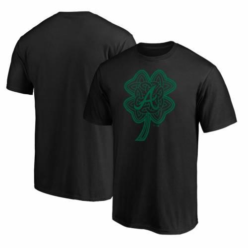 スポーツブランド カジュアル ファッション ファナティクス FANATICS BRANDED アトランタ ブレーブス Tシャツ TSHIRT 在庫一掃 CELTIC トップス 黒色 カットソー BLACK CHARM 超安い ブラック メンズファッション