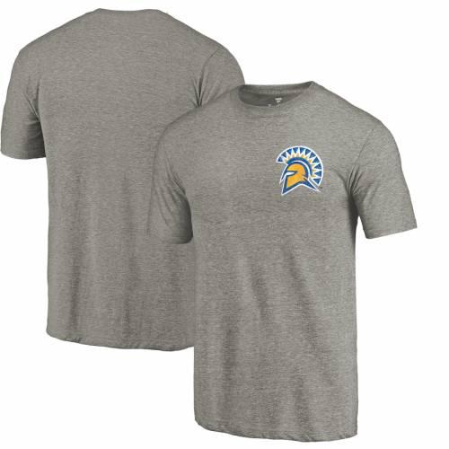 FANATICS BRANDED スケートボード ロゴ Tシャツ 灰色 グレー グレイ メンズファッション トップス カットソー メンズ 【 San Jose State Spartans Left Chest Distressed Logo Tri-blend T-shirt - Gray Heathered 】 Gra